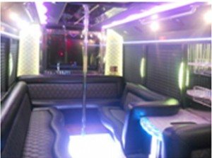 25 passenger limo bus with bathroom for Party bus with bathroom
